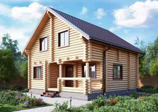 Проекты домов 7х9 из оцилиндрованного бревна в Москве
