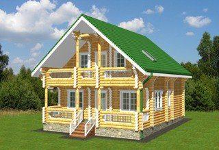 Проекты домов 8х9 из оцилиндрованного бревна в Москве