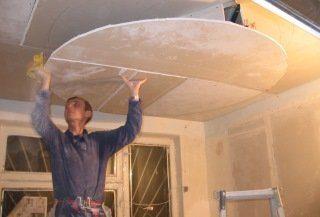 Фото процесса Монтаж потолка из гипсокартона в Москве